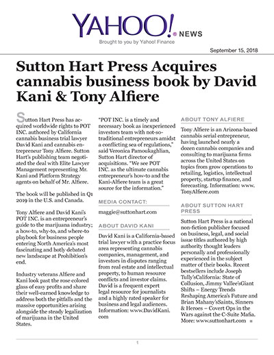 Sutton Hart Press Acquires cannabis business book by David Kani & Tony Alfiere